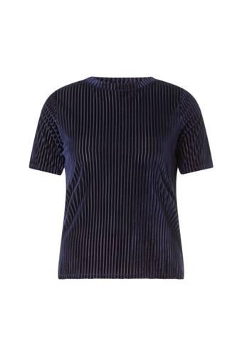 House of Bilocca Gestreept velvet shirt met korte mouwen