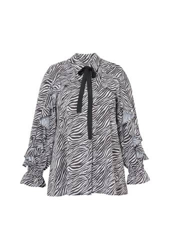 House of Bilocca Shirt met vollants en zebraprint