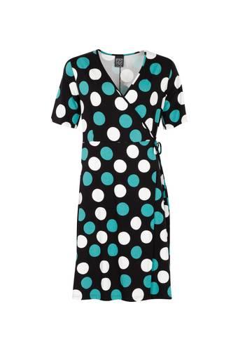 House of Bilocca Knielange jurk met korte mouwen en wikkel-effect